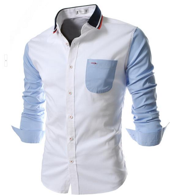 2017 de Los Hombres Camisa de Manga Larga Camisa Llena de Algodón de Gran Tamaño Asiático M-XXL! Nuevas Camisas de Los Hombres Ocasionales Camisas de Manga Larga delgado