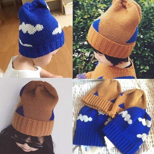 INS Bébé automne hiver Crochet chapeau enfants Garçons Fille bobo choses  nuage motif triangle Tricoté Bonnet 258c1d4e68f