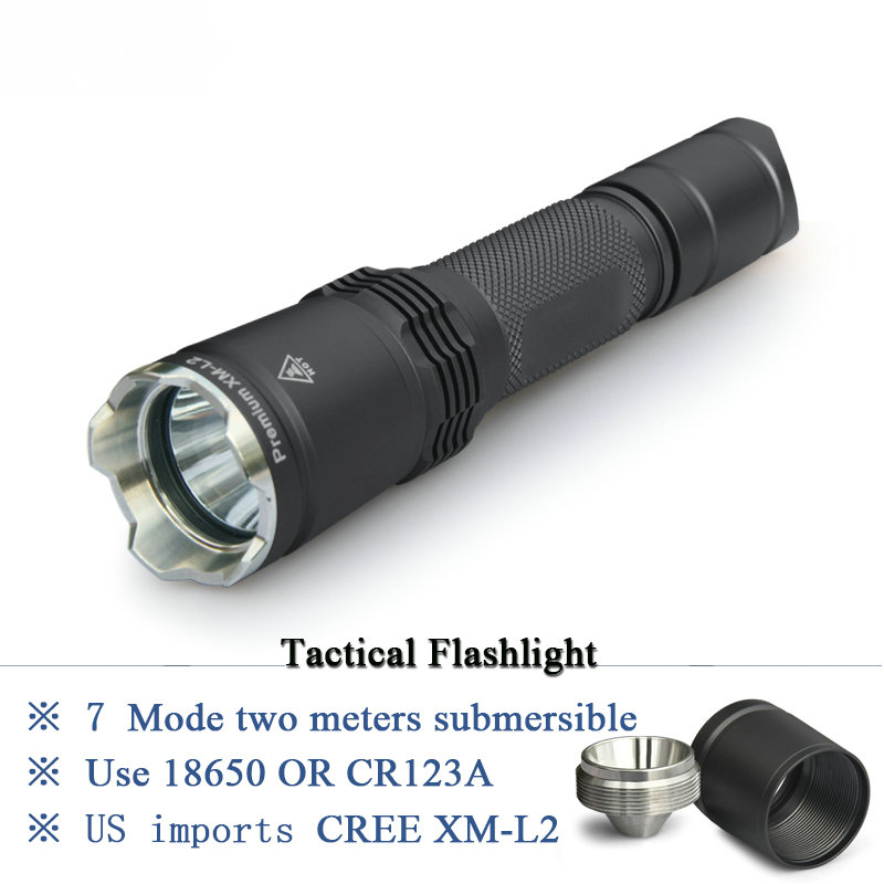 Tactical flashlight 7 Mode CREE XM L2 LED Torch linternas IPX 8 waterproof CR123A OR 18650 rechargeable battery Hunting Lights