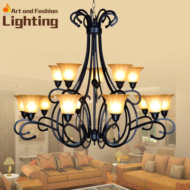 American country Up 15 lights wrought iron chandelier 2 layers large  chandelier for villa hotel lobby