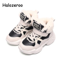 Зимняя новая детская теплая Повседневная обувь, детские спортивные кроссовки из искусственной кожи, модные меховые кроссовки для