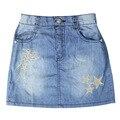 Девушки вышивка Звезда-образный Шаблон джинсовые прямо мини-юбки, Джинсы со стразами эластичный пояс для детей GSK-0004