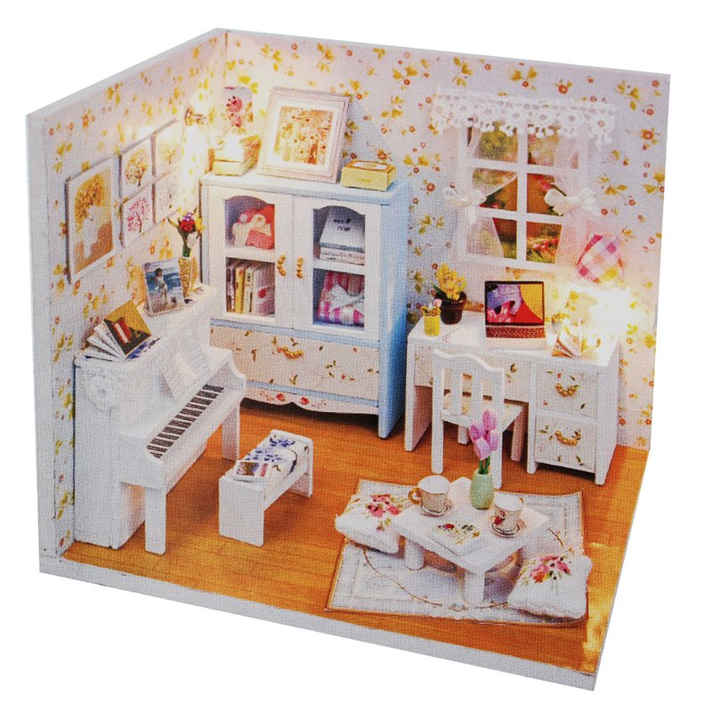Diy Wooden Dollhouse Miniature With Led Light Piano Furnitures