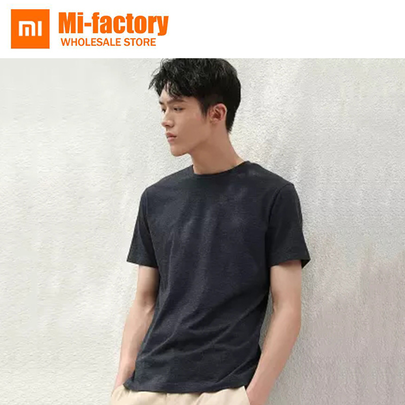 2Pieces New Xiaomi Summer Short Loose t shirt Solid Color Men Clothing Cotton Comfortable MaleT-shirt Print Casual Man's Tshirt trendy slimming round neck short sleeves button design solid color t shirt for men