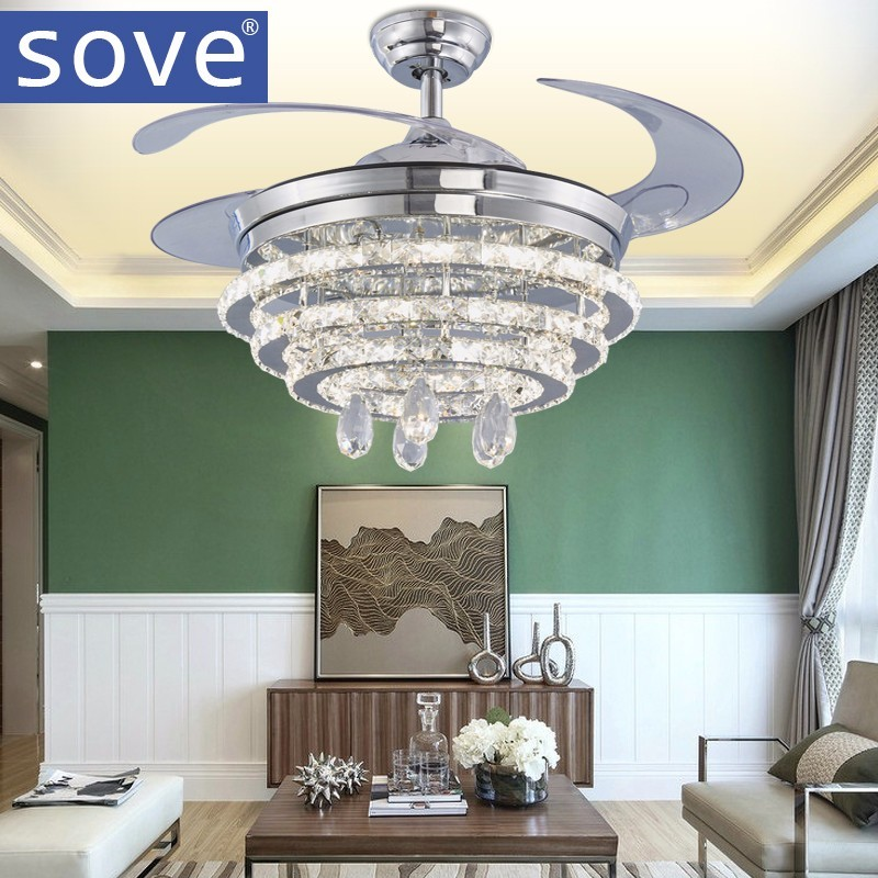 42inch Modern LED Crystal <font><b>Chandelier</b></font> Fan Light Living Room Bedroom Retractable Folding Fan With Remote Control 220 Volt Fan Lamp