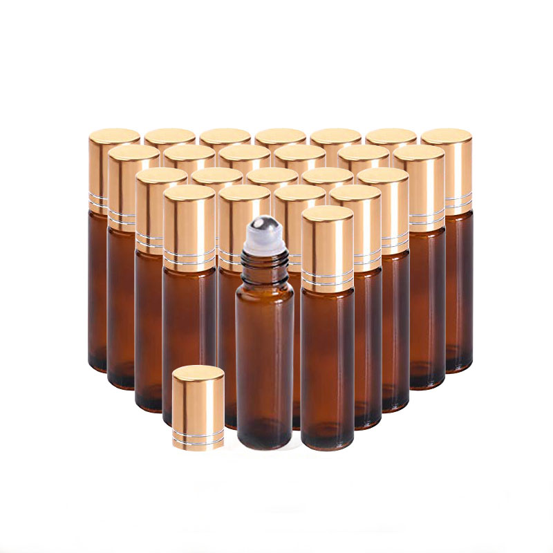 24/150pcs 10ML Amber Glass Roll On Bottle For Essential Oils,Refillable Perfume Containers With Stainless Steel Roller