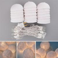 2 1M Cotton Ball 20 LED String Lights With EU Plug For Wedding Party Patio Xmas