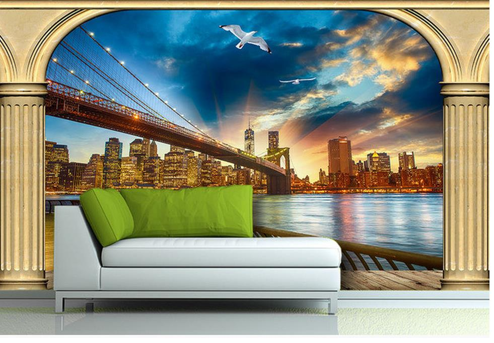 3d Bathroom Wallpaper Roman Column Window Outside The Landscape TV Wall Mural Painting Photos Home Decoration In Wallpapers From Improvement On