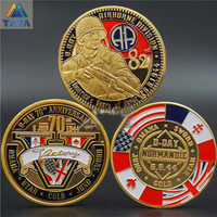 Normandy Invasion 3 Pcs 70Th Anniversary Coins 82th Airborne Division With Round Box USA Europe WW2 Honor Military Free Shipping