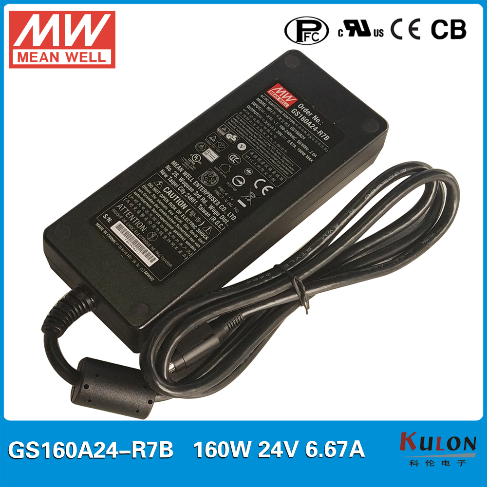 блок питания mw gs160a24 r7b - Original MANE WELL adapter GST160A24-R7B 160W 24V 6.67A AC-DC Level V with PFC function Meanwell desktop Industrial Adaptor