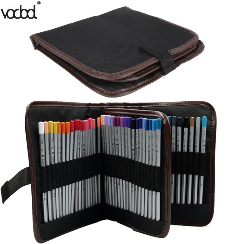 VODOOL 72 Holes Pen Pencil Case Makeup Brushes Case Makeup Tool Holder Bag Storage Pouch Makeup Organizer Student Pencil Pouch