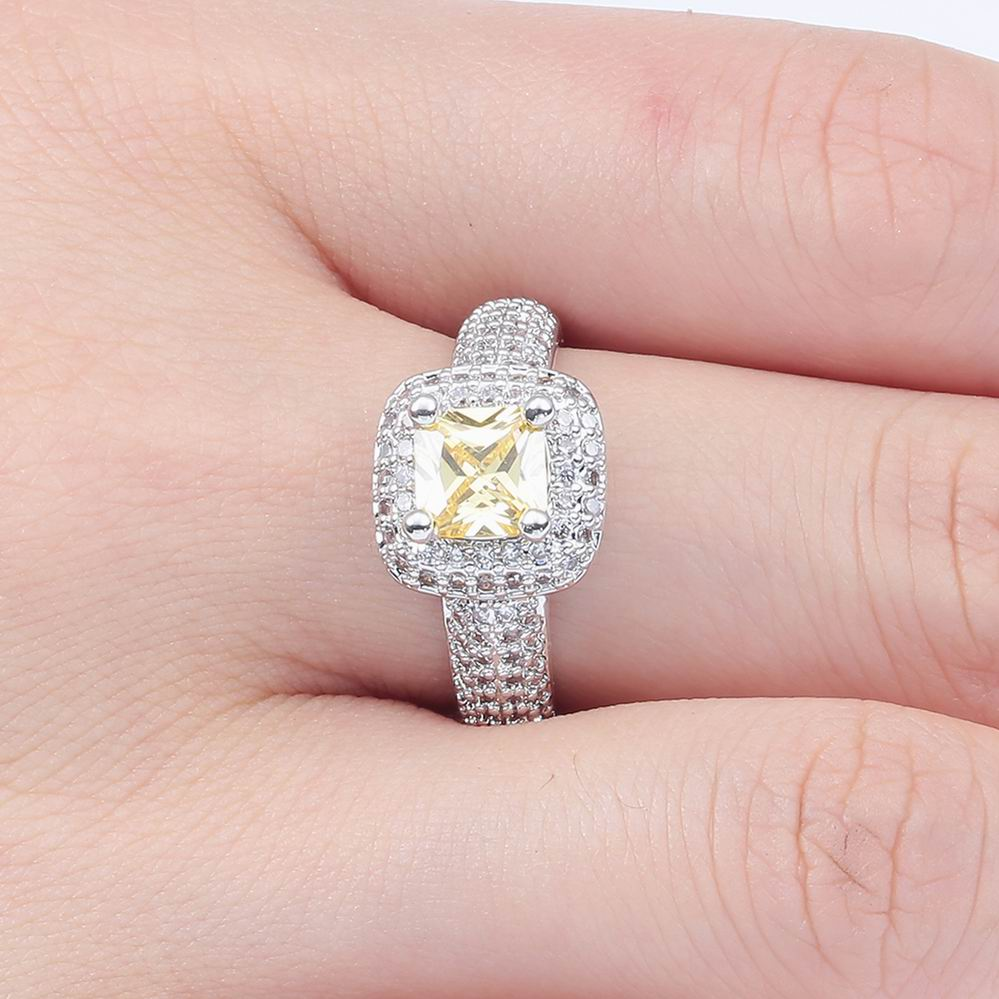 Gorgeous Womens White Gold Silver Plated Princess Cut Yellow Topaz ...