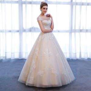 Image 4 - SL 307 Charming A linie Kurzarm brautkleider Spitze Appliques Strand Vintage SuLi Hochzeit Kleid frau hochzeit kleider für braut