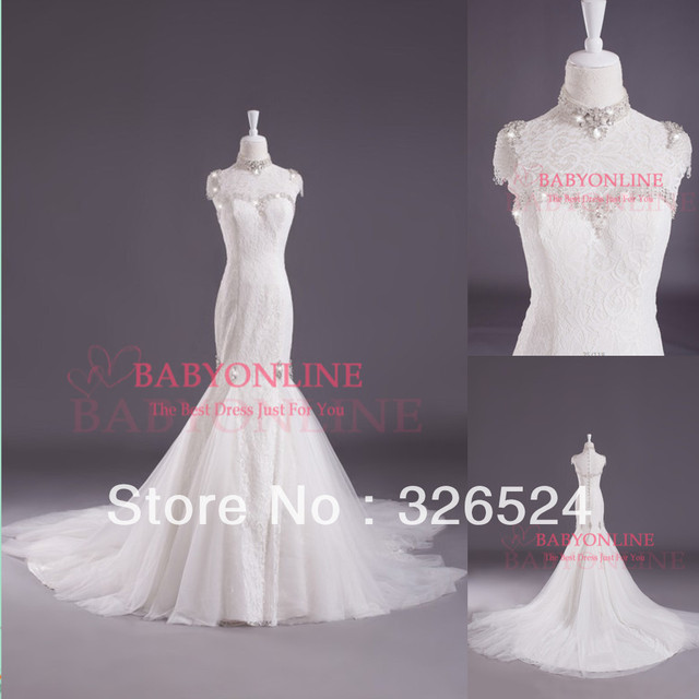 Real samples weddings & events mermaid lace wedding dress high neck ...