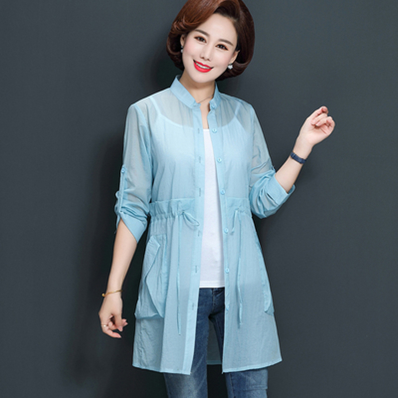 2019 Fashion Thin Windbreaker Women Summer Slim Sunscreen Clothes Solid Color Single-breasted Woman   Trench   Coat Plus Size 4XL