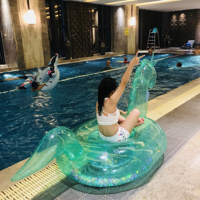 2pcs/order Transparent Swimming Tube Pool Vison Water Float Inflatable Party Toys Air Huge Inflatable Sea 120cm Flamingo Beach