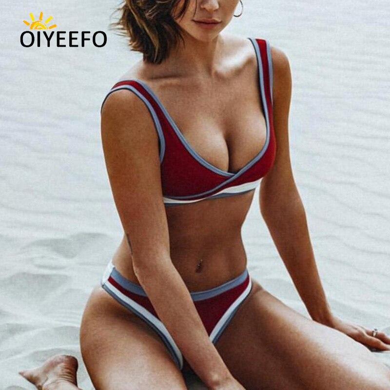 Oiyeefo 5 Colors Sport Bikini Brazilian Thong Biquine Set Tank Crop Top Bathing Suits Women Maroon Swimsuit Female Swimwear May