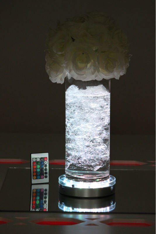 10pcs/lots 6inch AA Battery DHL Unique Design RGB Colorful Changing Led Centerpiece Light Base For Tall Glass Vases Decoration