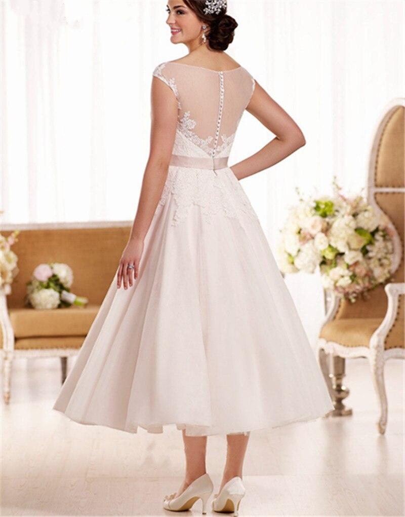 Vestido de noiva curto 2017 V Neck Sheer Back Short Wedding dresses Short Sleeve Ankle Length