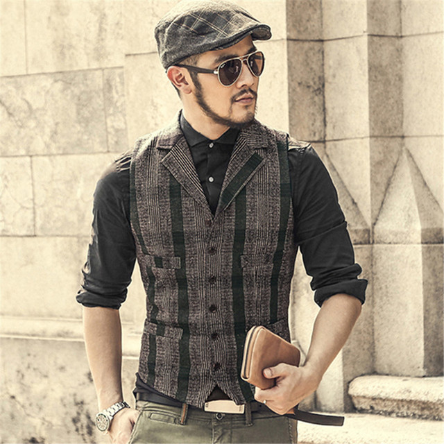 buy gilet men single breasted vest casual lapel waistcoat men plaid woolen. Black Bedroom Furniture Sets. Home Design Ideas