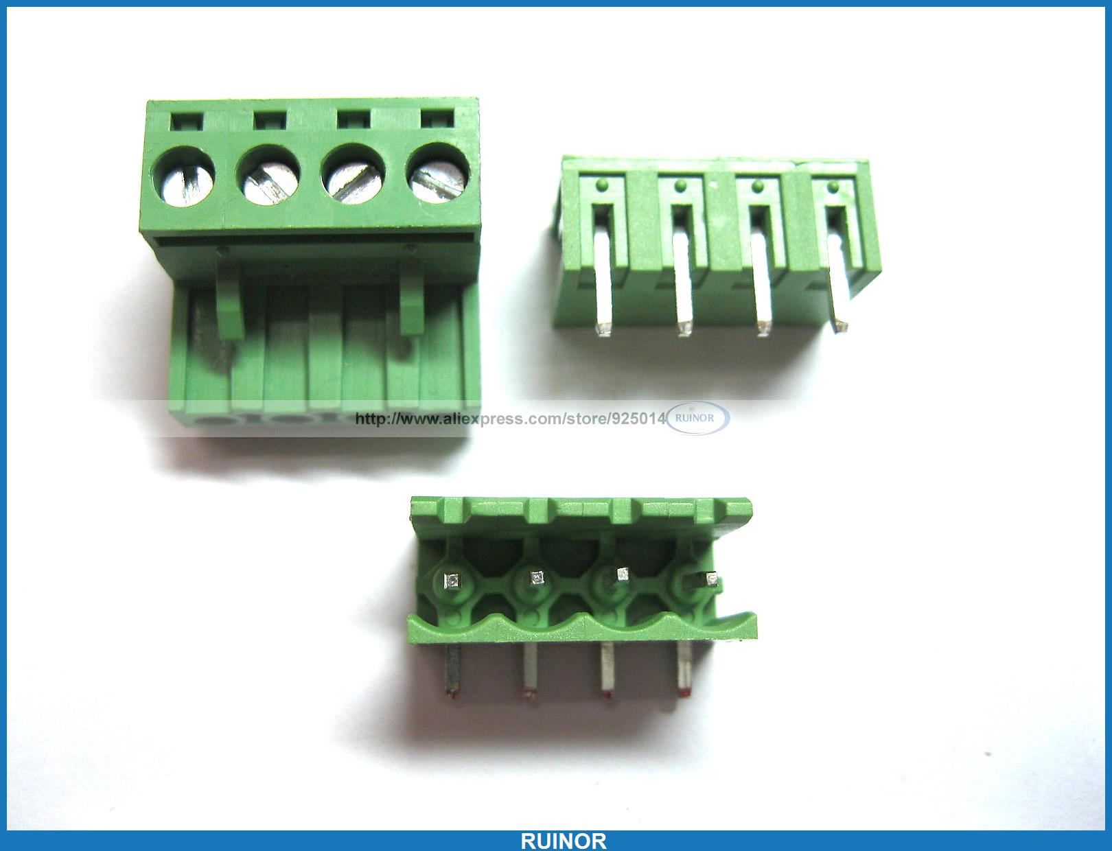 50 Pcs 5 08mm Angle 4 Pin Screw Terminal Block Connector Pluggable Type Green 1825242[pluggable terminal blocks 14 pos 5 08mm pitch thru h mr li