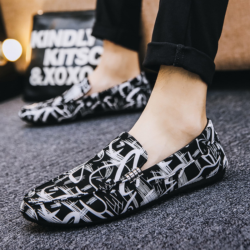 Spring Men Casual Shoes Fashion Printing Men Driving Shoes Soft Leather Loafers Men Sneakers Slip on Flat Man Walking Footwear in Men 39 s Casual Shoes from Shoes