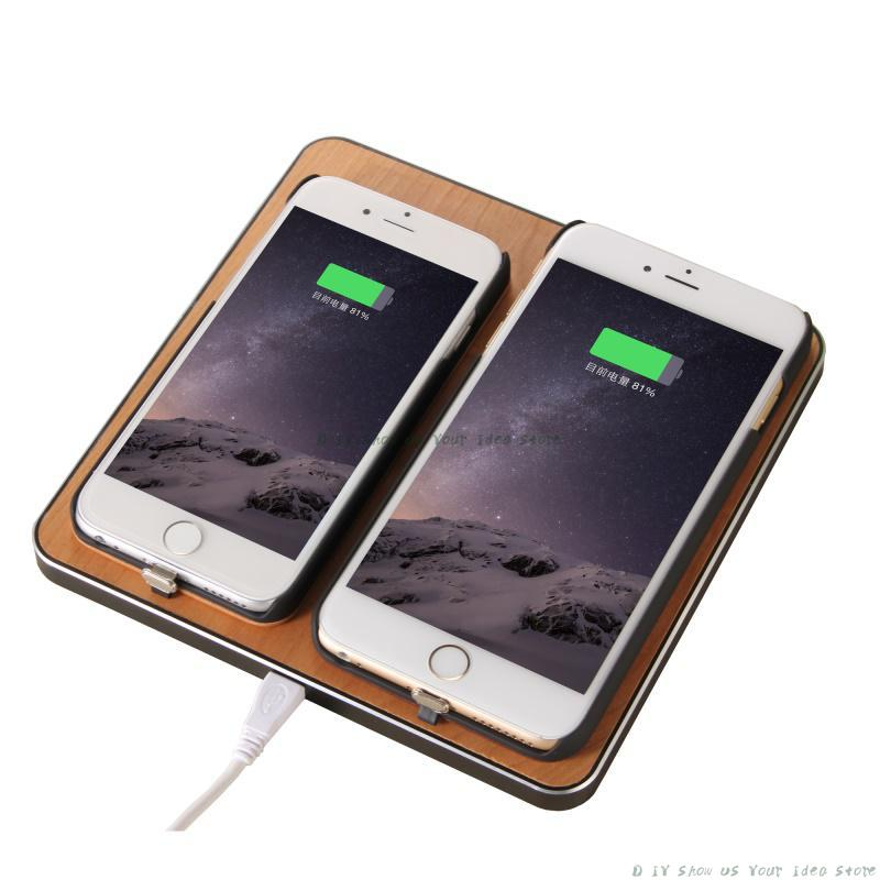 Universal Wooden 2 Phones Qi Wireless Charger Holders Stands For iPhone X 8 For Samsung S8 S7 Fast Wireless Charging Pad