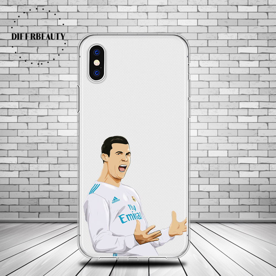Famous Football Soccer Star Ronaldo CR7 DIFFRBEAUTY Soft Phone Cases Coque For iphone 6 6S 7 8Plus 5s SE Flexible Phone Holder
