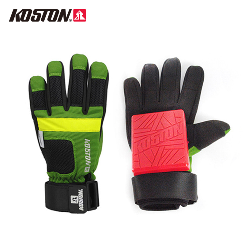 KOSTON Longboard Sliding Gloves with POM Puck Professional Skateboard Gloves High Quality M /L AC750 koston longboard skateboard scooter black skate helmet
