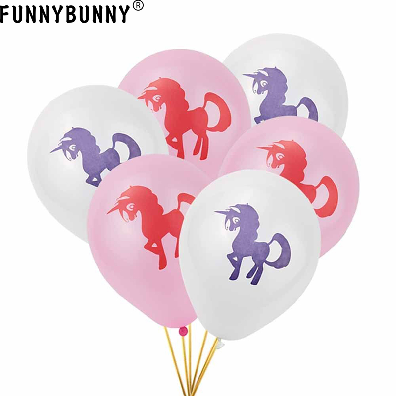 FUNNYBUNNY 10PCS Unicorn Printed Latex Balloon Girls Kids Birthday Party Magical Decoration