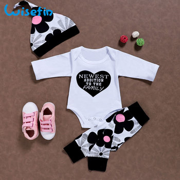 Newborn Clothes Baby Girl Clothes Set Hat Cotton Tops Bebes Bodysuits Long Sleeve Romper Floral Leggings Pants Outfits P40