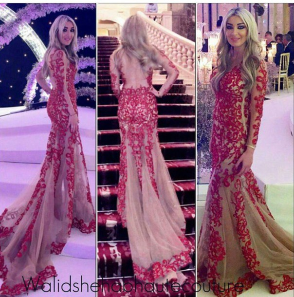 Amazing Long Sleeves Red Lace Mermaid Prom Dress Custom Made Floor ...