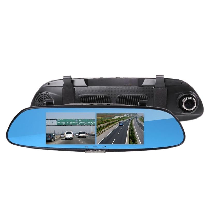Set 7 inch HD 1080P Dual Lens Car DVR Dash Cam 170 Degree Touch Screen G-sensor Vehicle Rearview Mirror Camera Recorder 10166