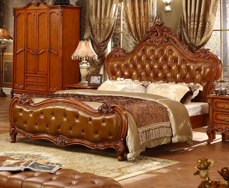 King Set Royal Bedroom Luxury Leather Headboard French Bed Furniture Bedroom Sets Aliexpress