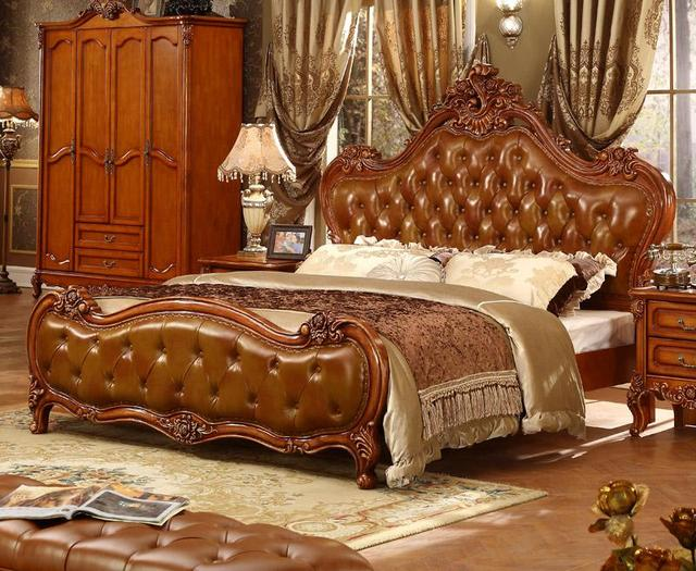 King Set Royal Bedroom Luxury Leather Headboard French Bed Furniture