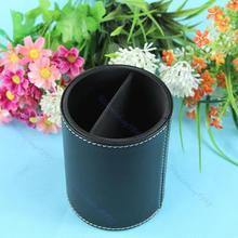 1PC Hot Sell New Black PU Leather Cosmetic Cup Container Makeup Brush Round Pen Holder Tool Promotion
