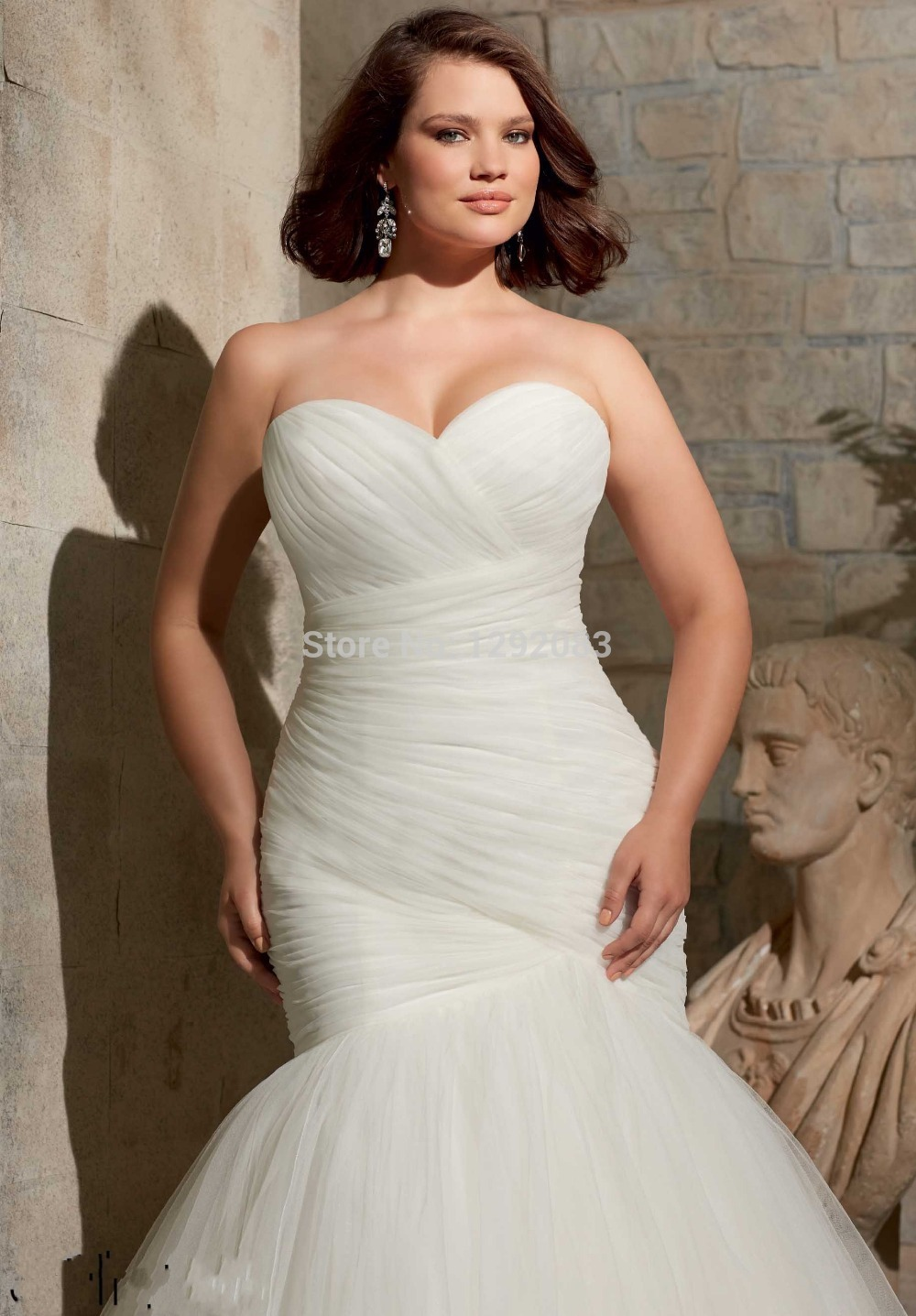 Hotplus Size Sweetheart Ruched Bodice Mermaid Lace Up Back Wedding Dress 2017 With Removable Cap Sleeves In Dresses From Weddings Events On