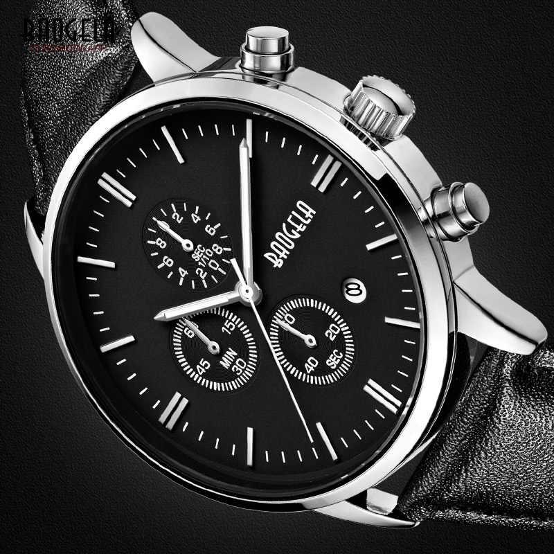 Baogela Herren Chronograph Luminous Hand Datum Anzeige Schwarz Lederband Quarz Handgelenk Uhren BGL1706-M