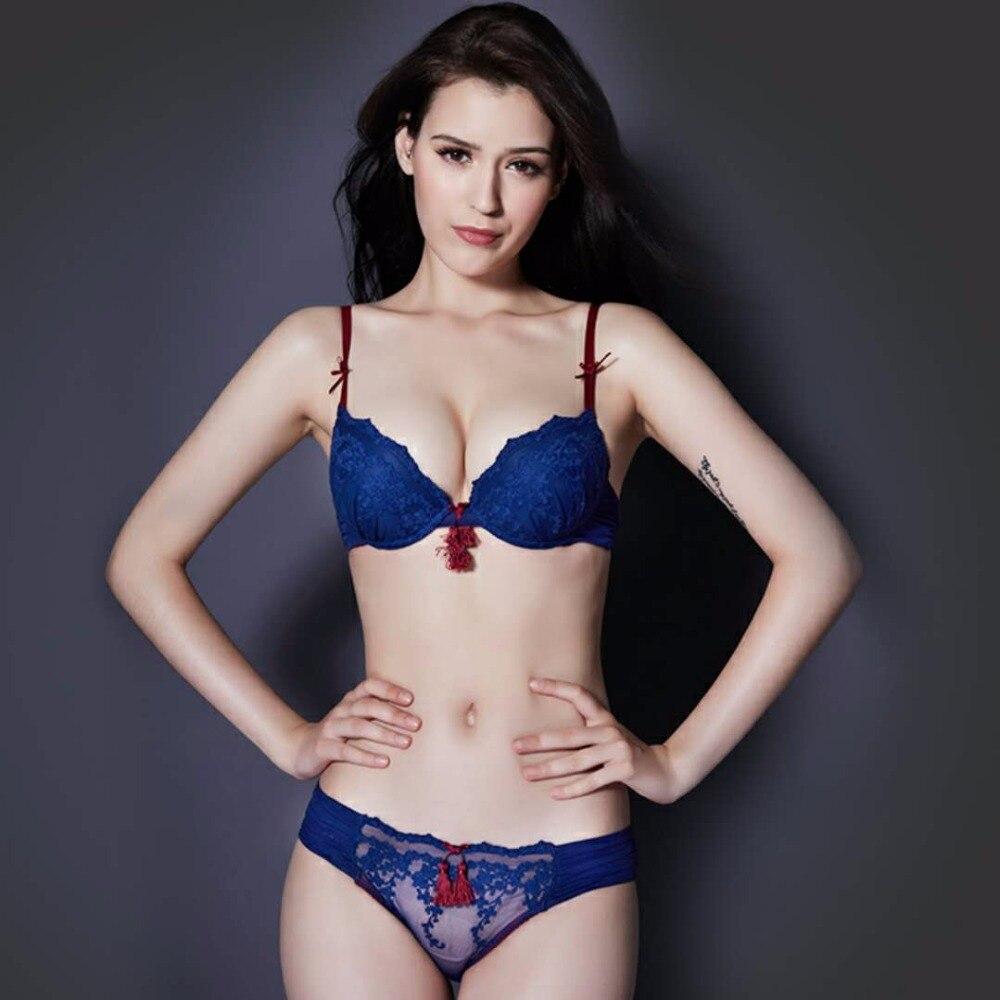 Slimgirl Women's Fashion Sexy Lace   Bra     Sets   Push-up Padded 3/4 Cup Tasael Underwire   Bra   &   Brief   Setss Female Big Size Underwear