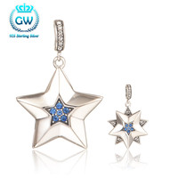 Sterling Silver Pentagram Pendant Pave Australian Crystal Pendant Necklaces Women 2016 New Stylish Pety020