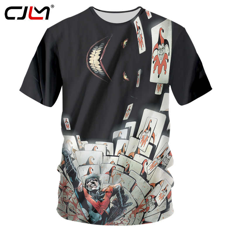 CJLM мужские хип-хоп футболки в стиле панк унисекс Бодибилдинг футболка с короткими рукавами для фитнеса Нижнее белье Мужские забавные принты Джокер покер 3d футболки