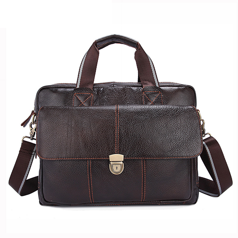 ФОТО Genuine Leather Men Bags Hot Sale Man Messenger Bag Cowhide Leather Men's Briefcase Male Crossbody Shoulder Handbag