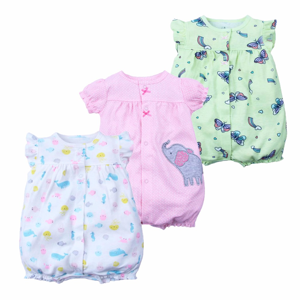 2019 Summer Baby   Rompers   Baby Girls Clothing 100% Cotton Newborn Baby Boy Clothes Infant Jumpsuits Short Sleeve Kids Clothes