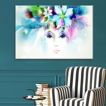 Art Abstract Flowers Butterfly Girl Painting 1 Piece Style Picture Canvas Printing Type Wall Artwork Modern Home Decor Poster