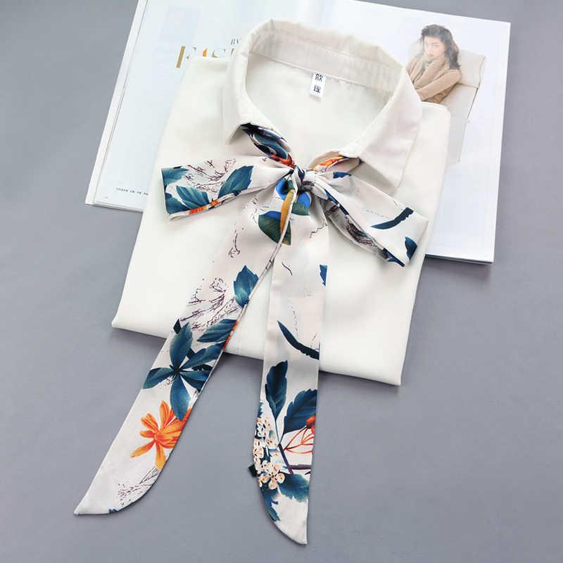Wanita Tas Sabuk Rambut Kepala Multifungsi Dekorasi Dasi Band Sempit Panjang Selendang Syal Satin Sutra Kecil Syal Pita Dicetak