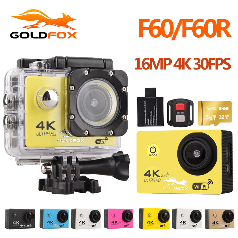 Goldfox F60 Ultra HD 4 Karat WiFi 1080 P Action kamera DV Sport 2,0 LCD 170D linse gehen wasserdicht pro Hero Stil kamera Zubehör