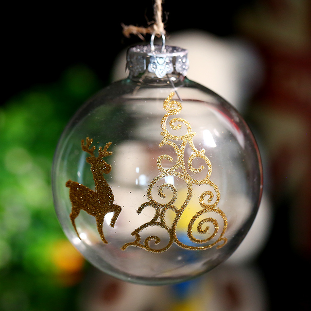 80mm Christmas Glass Ornament Ball Xmas Tree Decoration / Gold Deer& propitious Cloud / Party Event Message Home Freeshipping x4