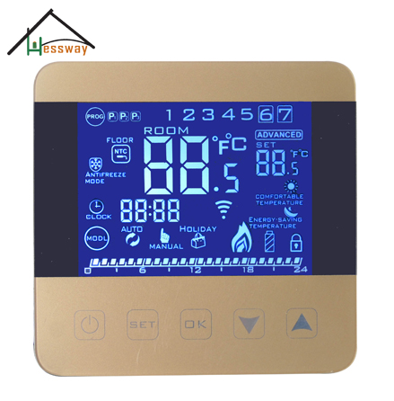 EU Dual sensor Programmable heating thermostat regulator with Child lock Holiday mode suhed high versatility with dual alarm thermostat ch702