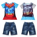 Retail 2016 New kids clothes 3pcs Summer superman T-shirt + bat cloak + denim shorts boy clothing sets