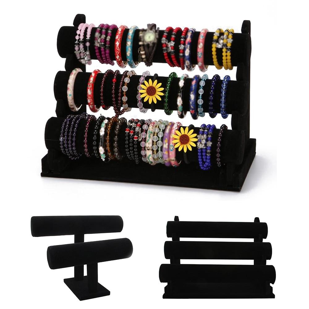 Mult-layer Black Portable Velvet Bracelet Bangle Necklace Display Stand Holder Headwear Watch Jewelry Organizer T-Bar Rack